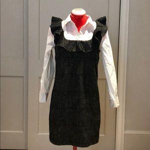 Zara Shift Dress with Ruffle and Button Down Sz XS